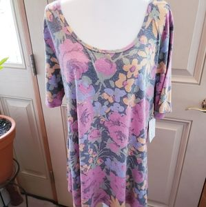 Lularoe Perfect T Faded Floral Tunic Womens XL